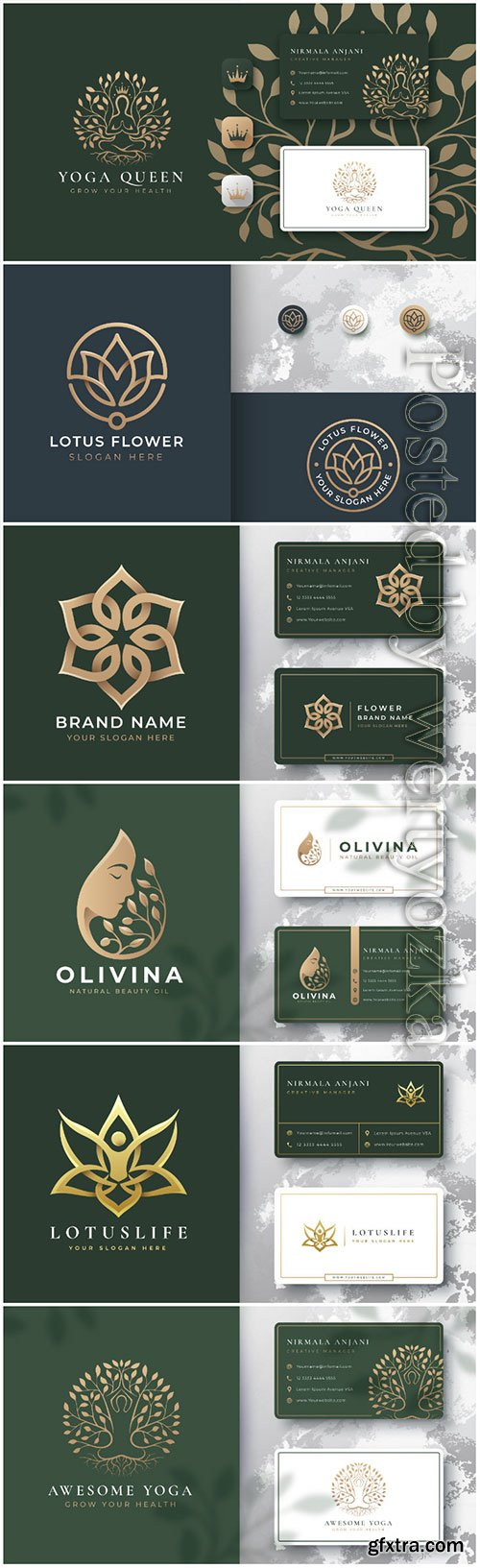 Logo template with business card vector design