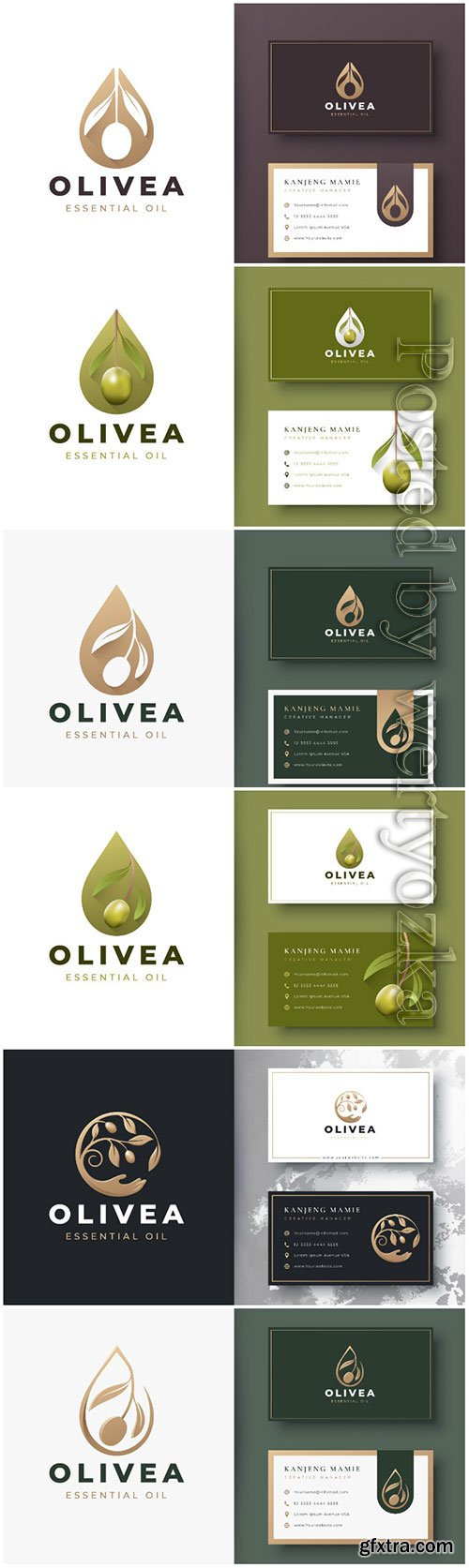 Olive oil logo and business card design premium vector