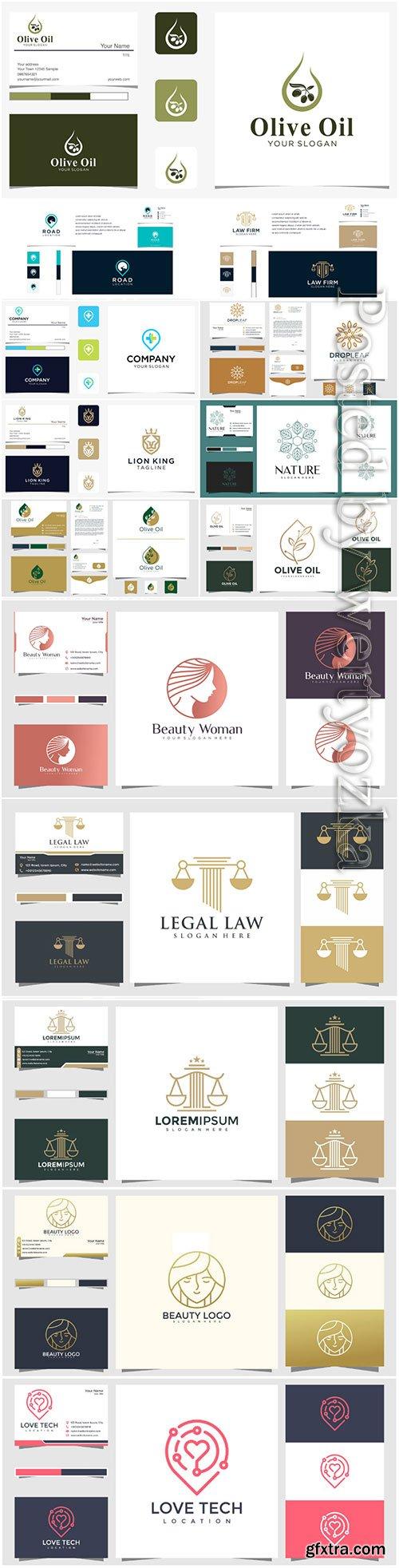 Logo design concept and business card premium vector