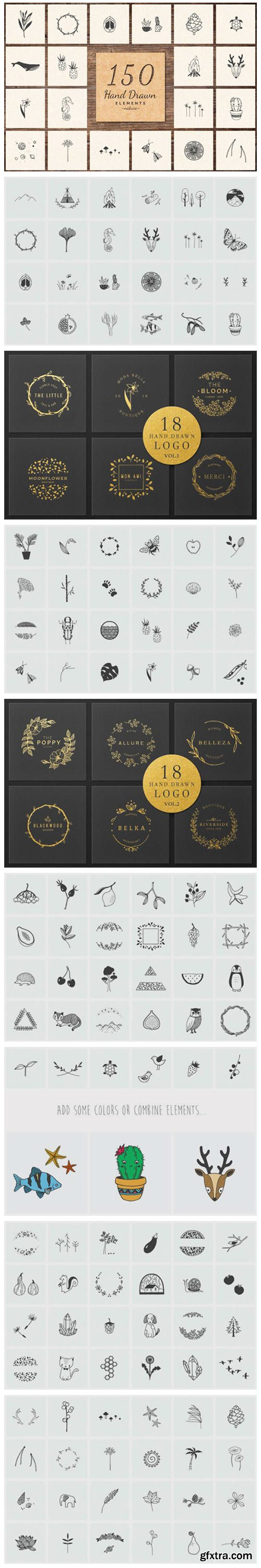 150 Hand Drawn Elements Nature 6575632