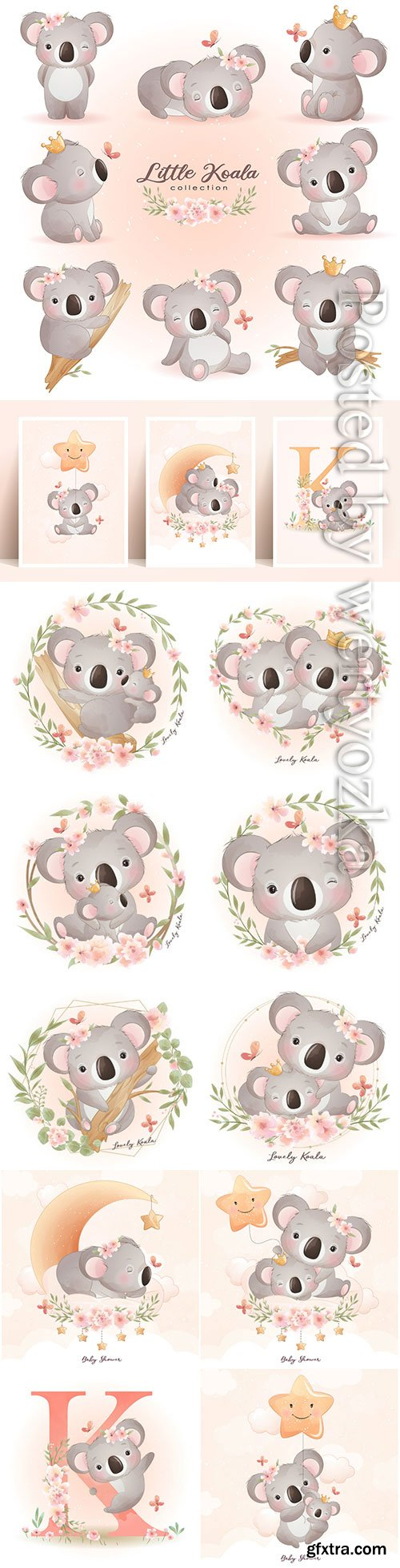 Cute doodle koala bear with floral illustration premium vector