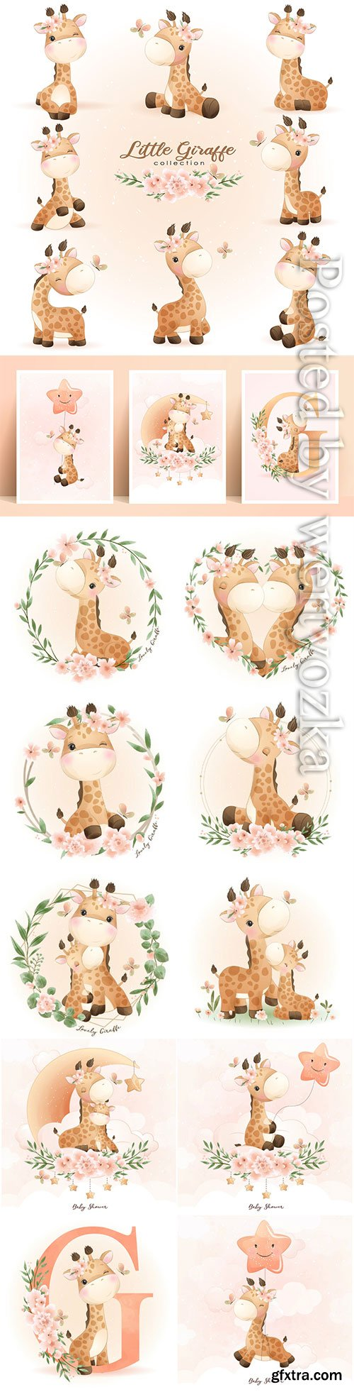 Cute doodle giraffe poses with floral illustration premium vector