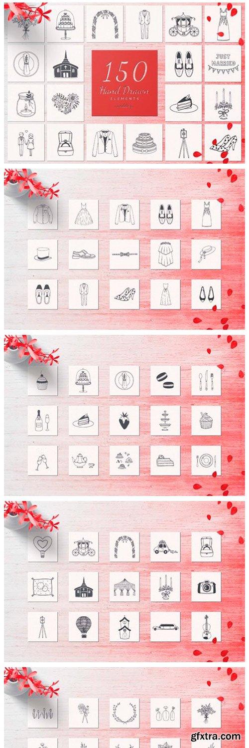 150 Hand Drawn Elements Wedding 6578819