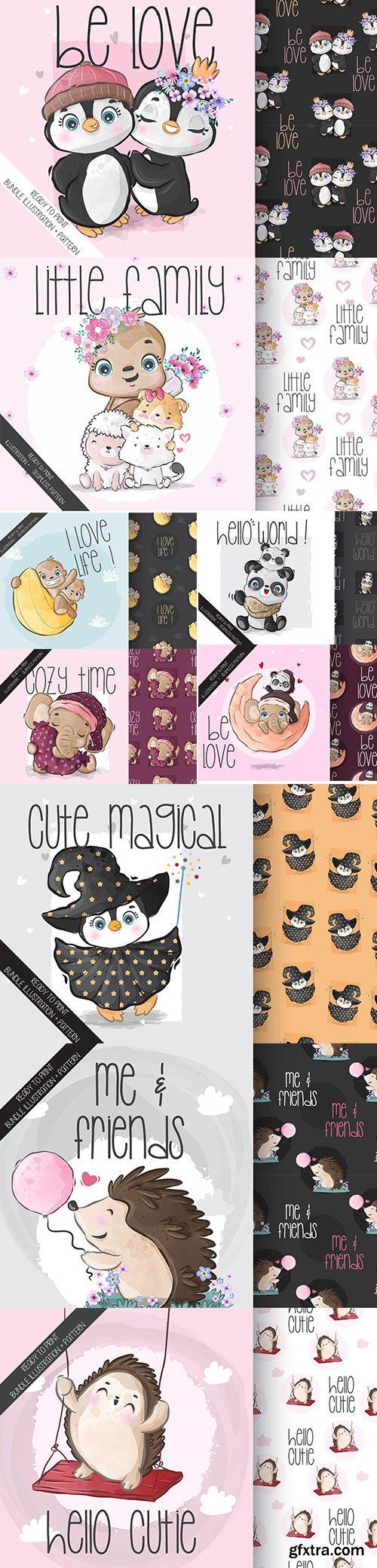 Cute animal baby seamless pattern cartoon