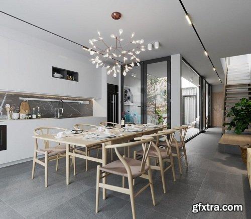 Full Residential House Interior Scene 02