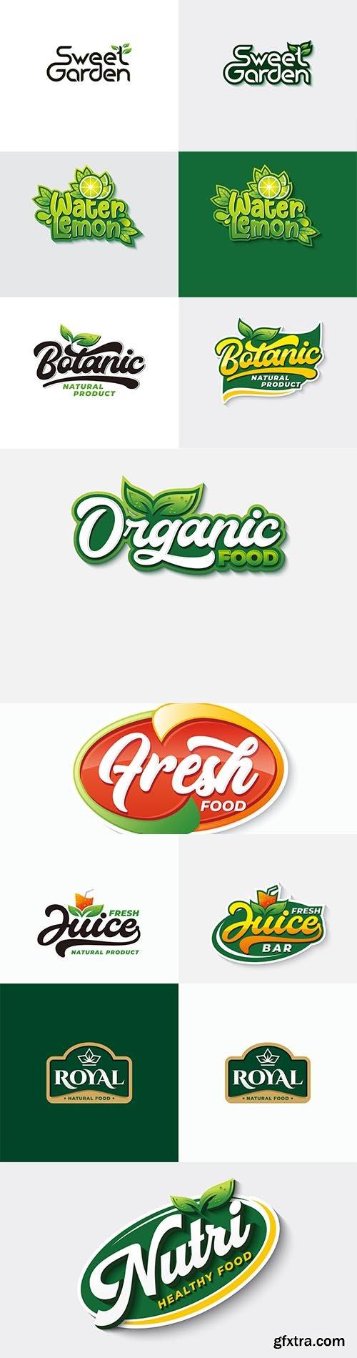 Organic food typography logo template