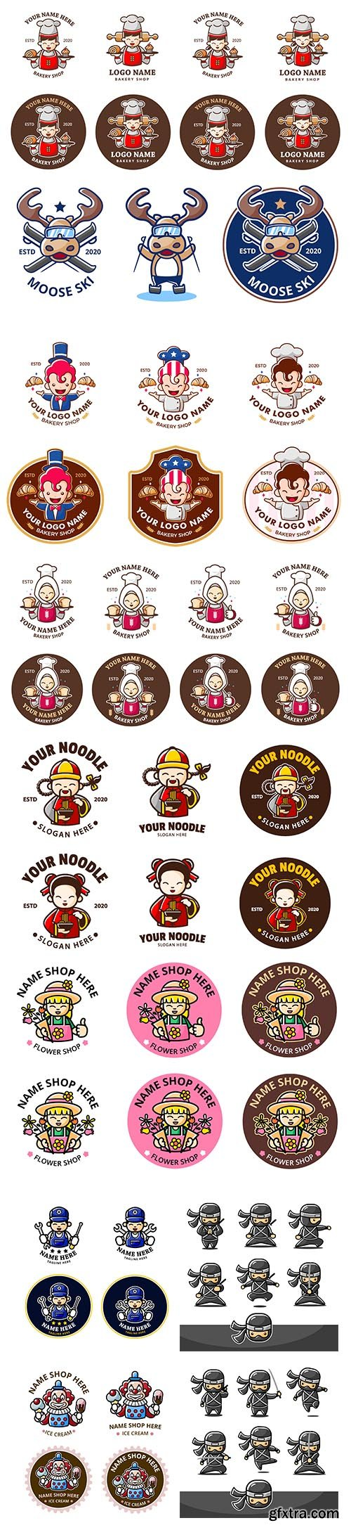 Logo cartoon mascot vector set