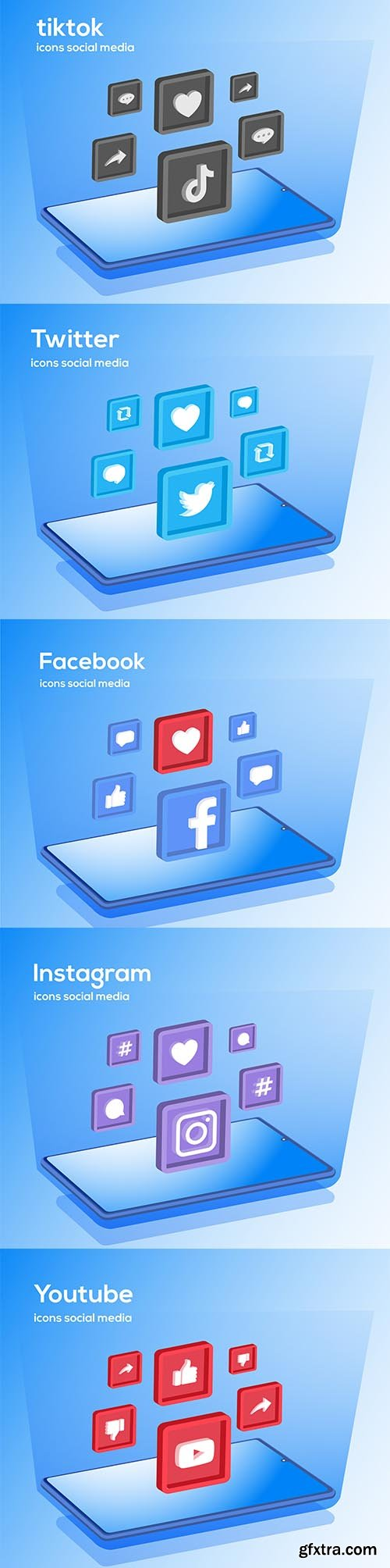 Social media icons with smartphone symbol