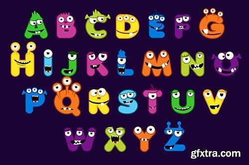 Cartoon alphabet font monster style