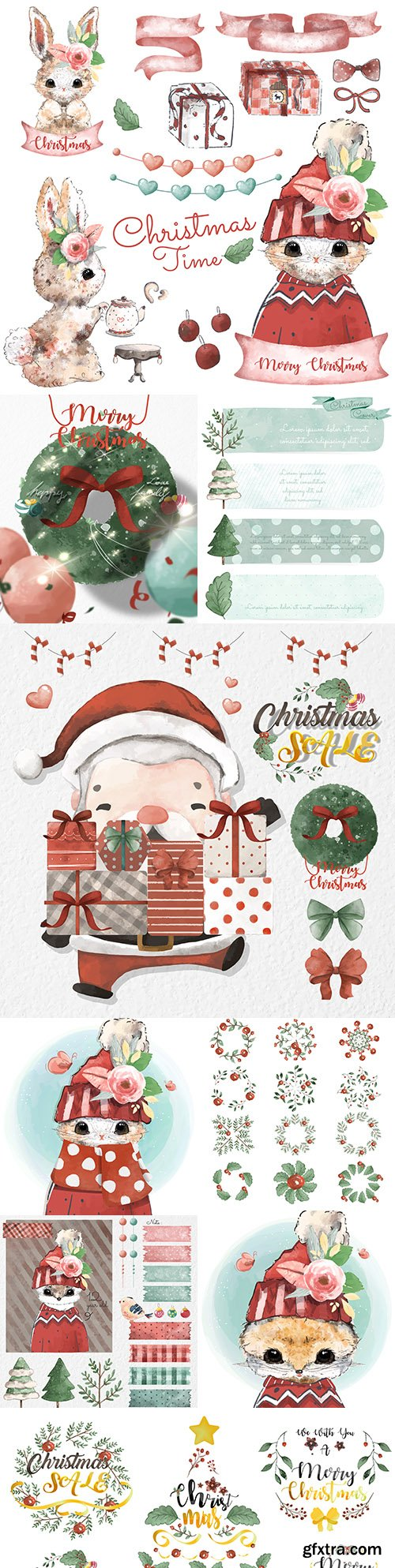 Christmas set of watercolor style design elements