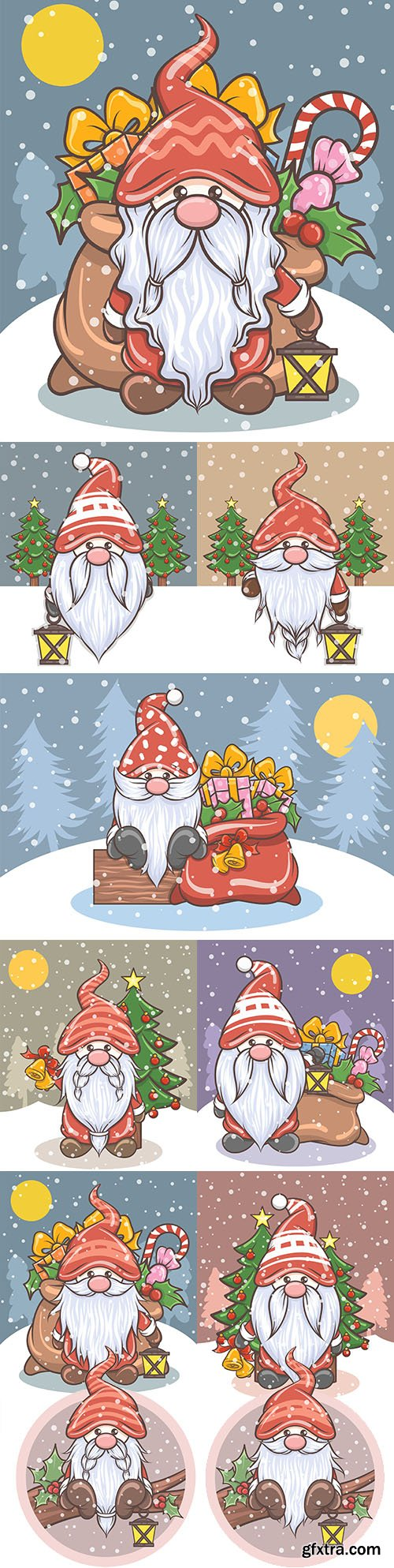 Cute gnome and gift bag cartoon character illustration