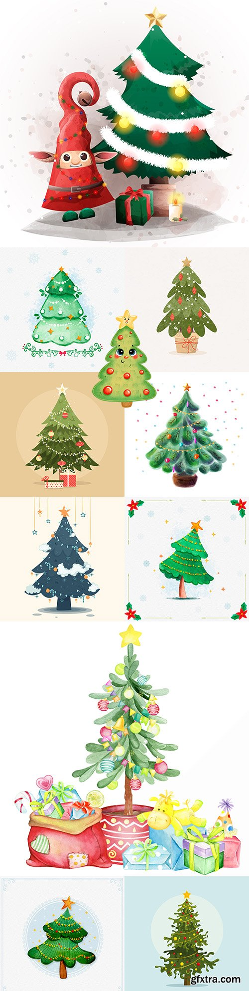 Christmas tree with gifts and toys illustrations