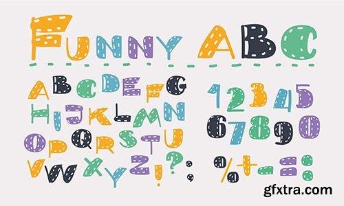 Cartoon set of latin alphabet colorful symbol on white