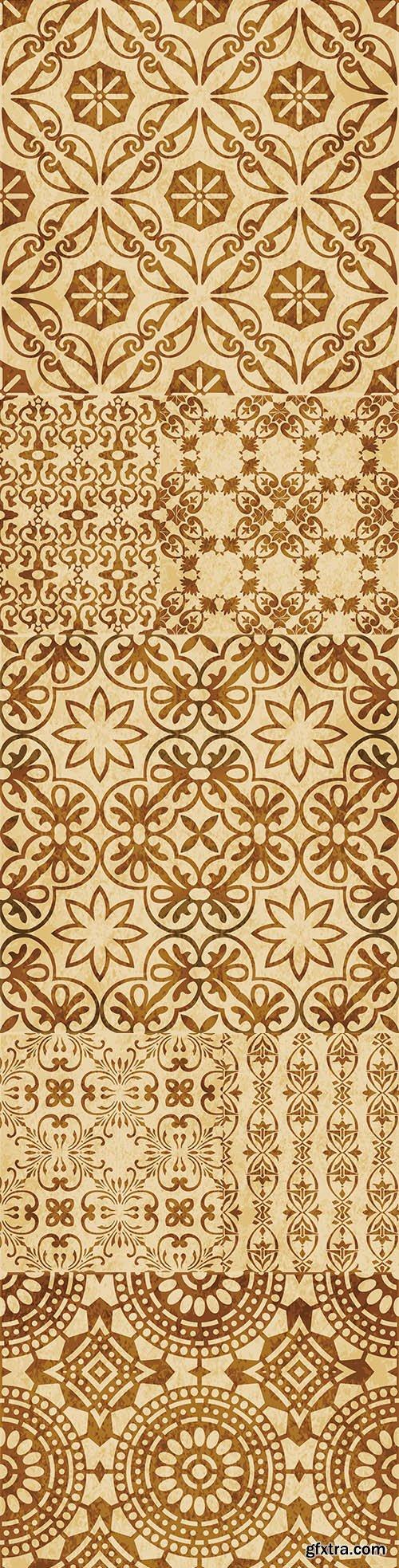 Retro brown textured background decorative elements