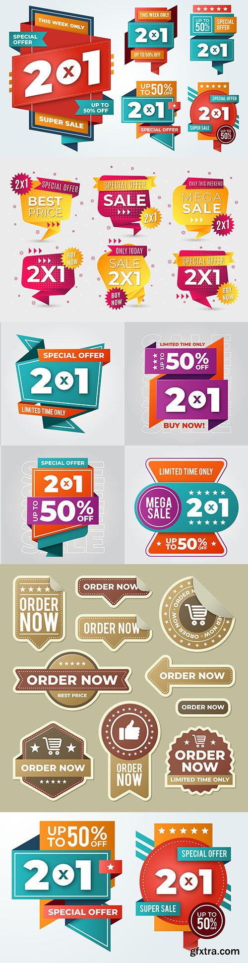 Advertising bright labels 2x1 design collection