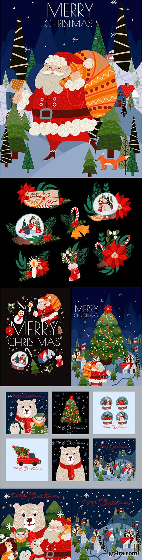 Merry Christmas themed painted illustrations