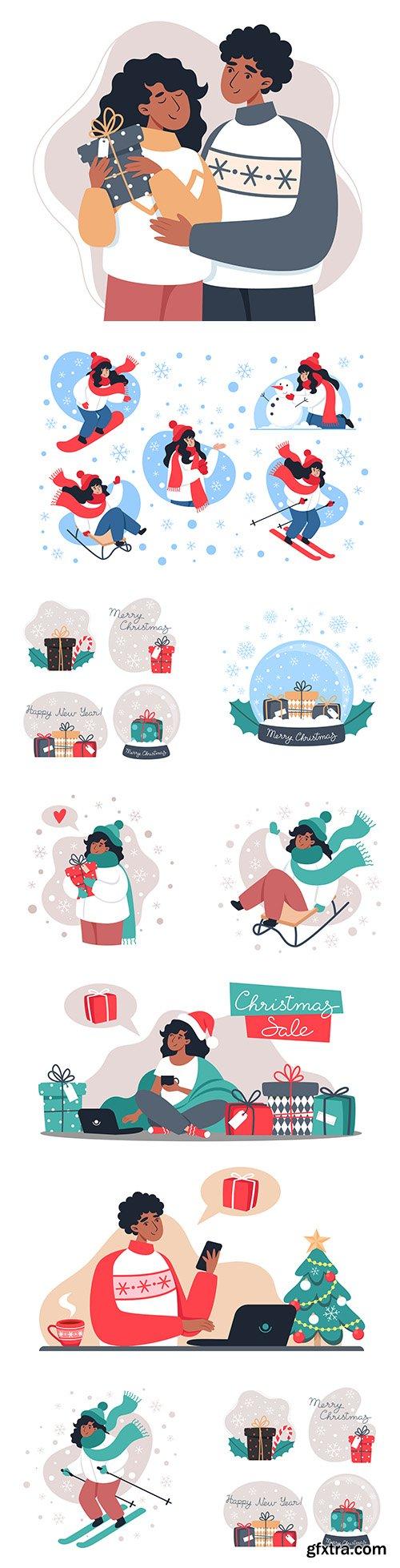 Winter skiing and romantic pair flat design