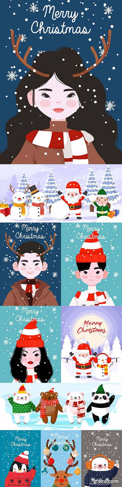 Merry Christmas themed painted flat design illustrations