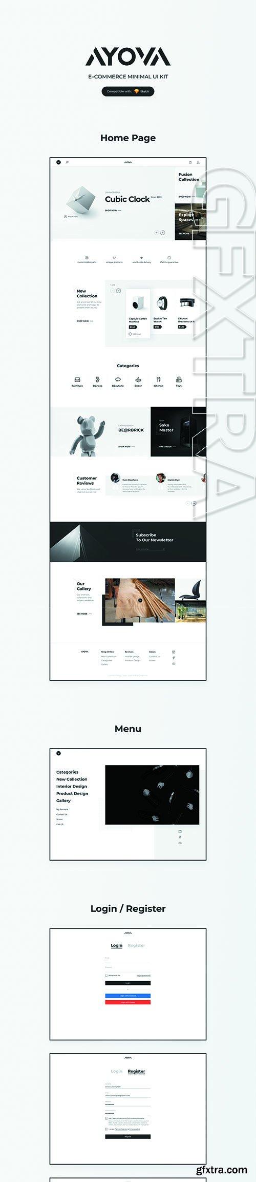 AYOVA – eCommerce UX/UI Kit Sketch Template