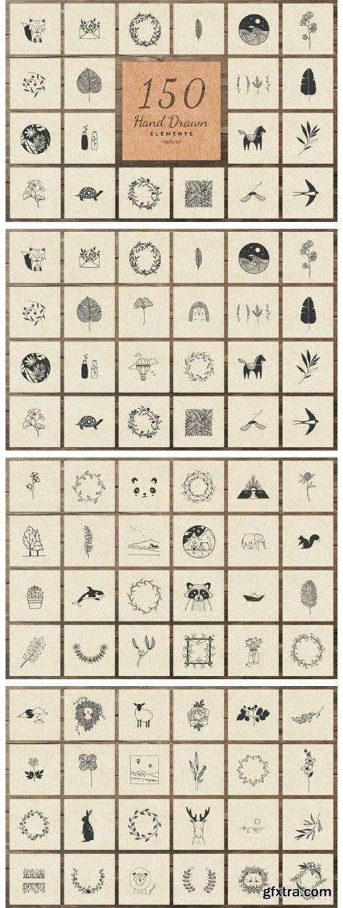 150 Hand Drawn Elements Nature II 6575946