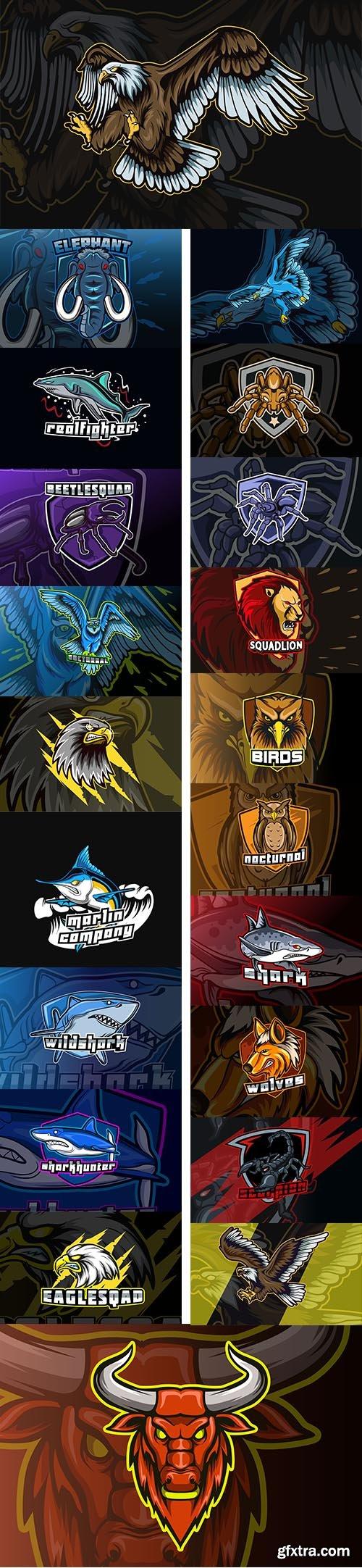 Animals mascot character cartoon logo