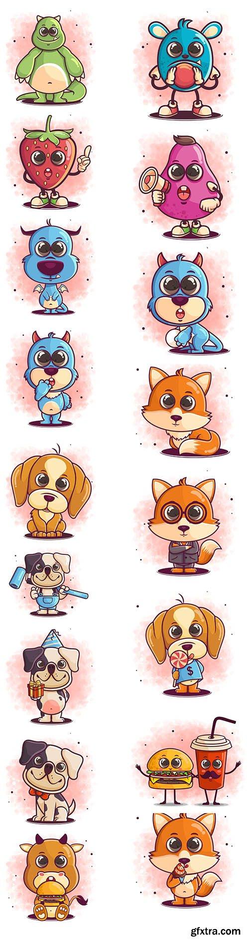 Hand-drawn cute dog cartoon sitting