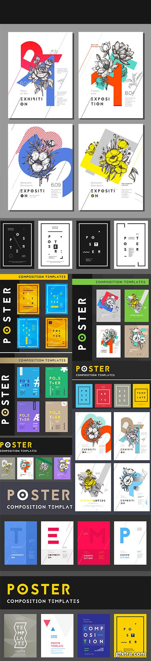 Set poster templates modern clean design vector illustration
