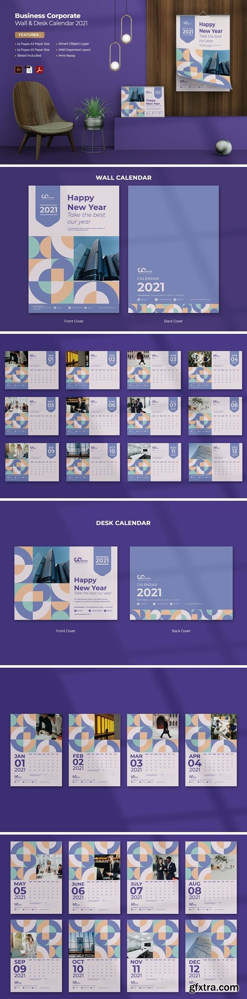 Business Corporate Wall & Desk Calendar 2021