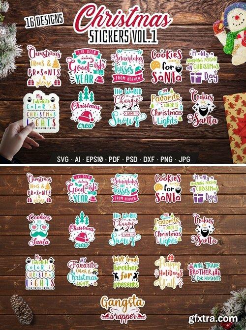 Christmas Stickers Bundle Vector Xmas Labels. Vol1