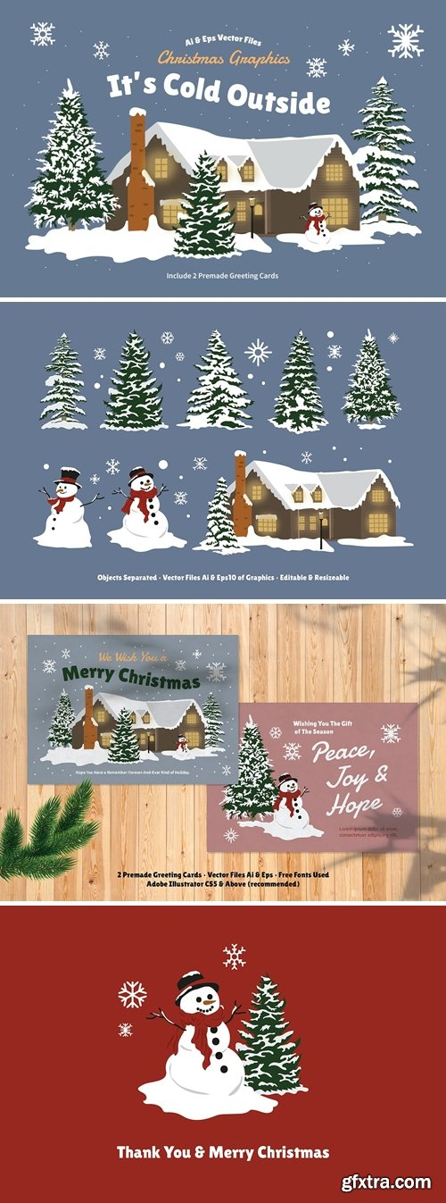 White Christmas Tree, Snowman & Snow House