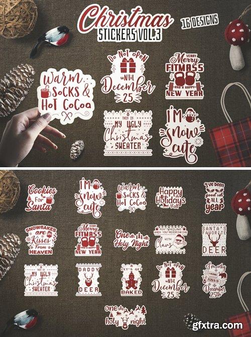 Christmas Stickers Bundle Vector Clip Art. Vol 3