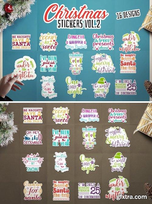 Christmas Stickers Bundle Vector Clip Art. Vol 2