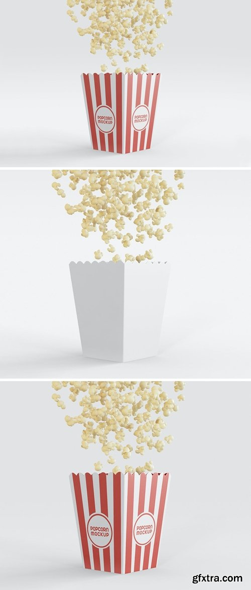 Bucket with Popcorns Flying Mockup