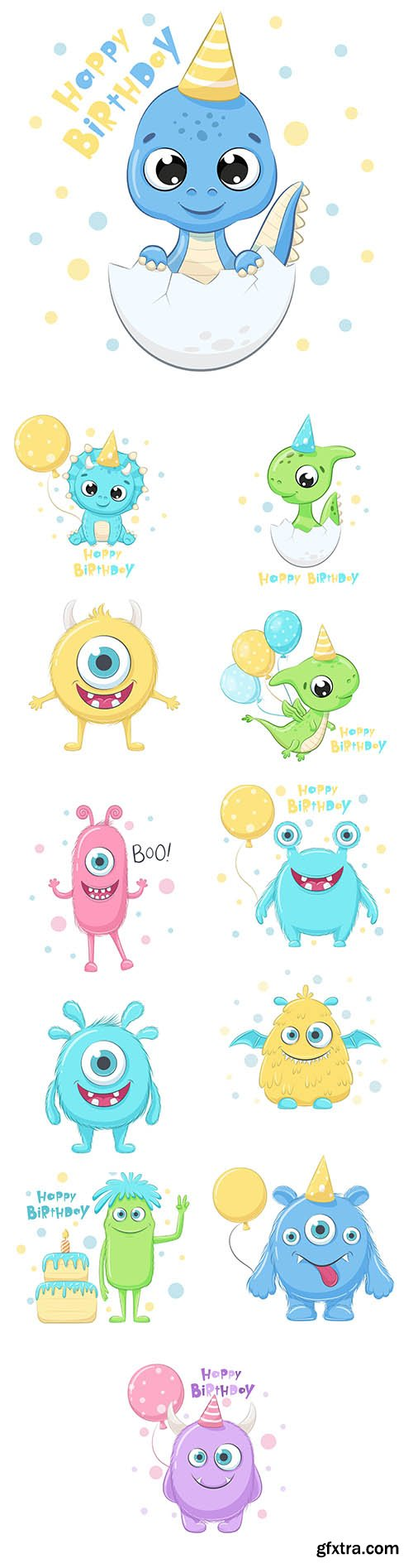 Cute dinosaur with phrase happy birthday and monsters illustration