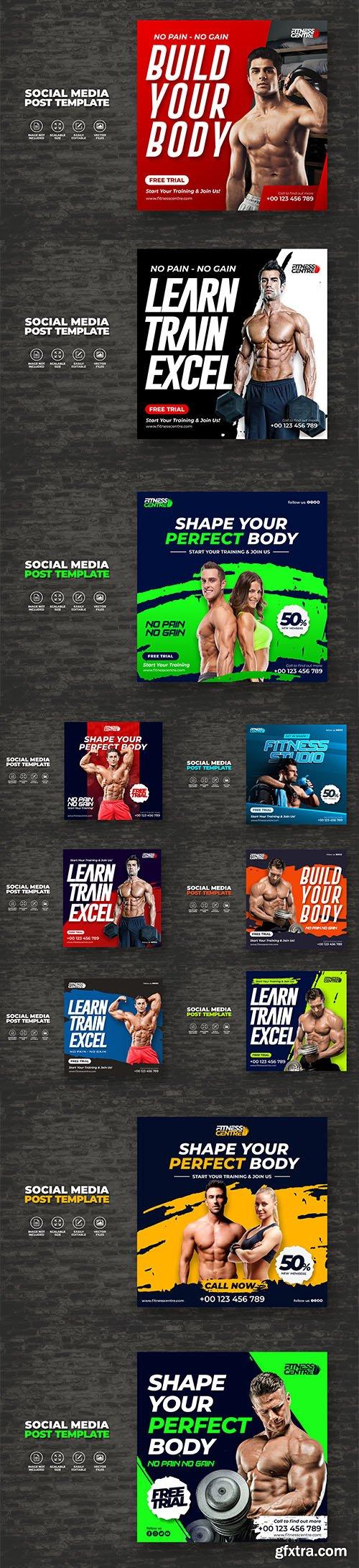 Fitness or gym studio social media banner or square sport flyer