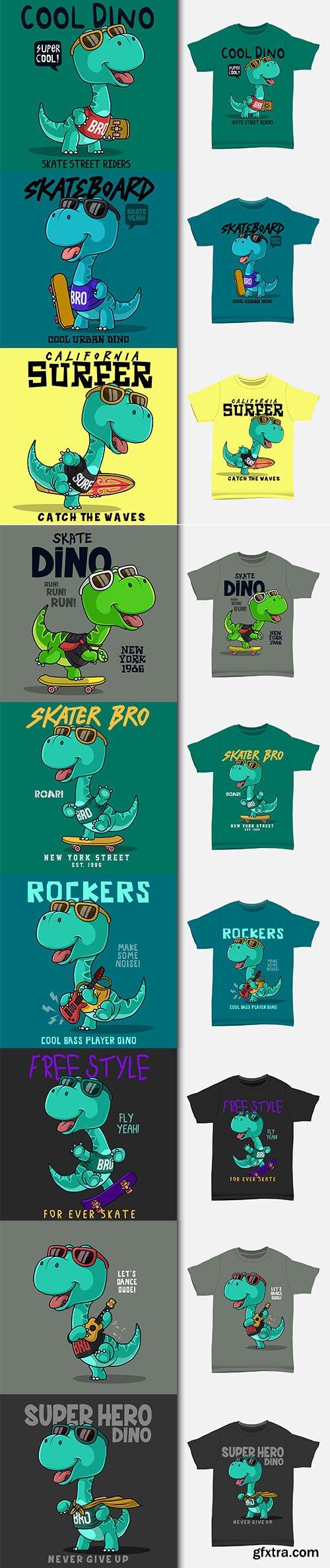 Dinosaur super hero cartoon t-shirt design