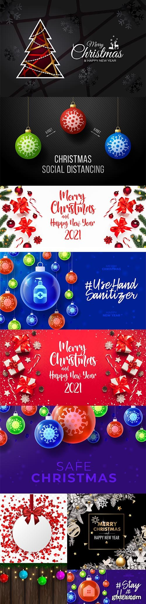 Merry christmas and happy new year 2021 banner
