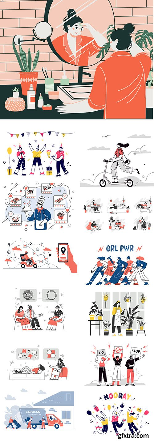 Group of women vector characters