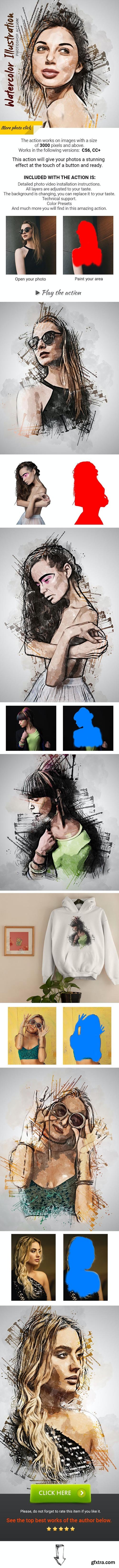 GraphicRiver - Watercolor Illustration Photoshop Action 28803661