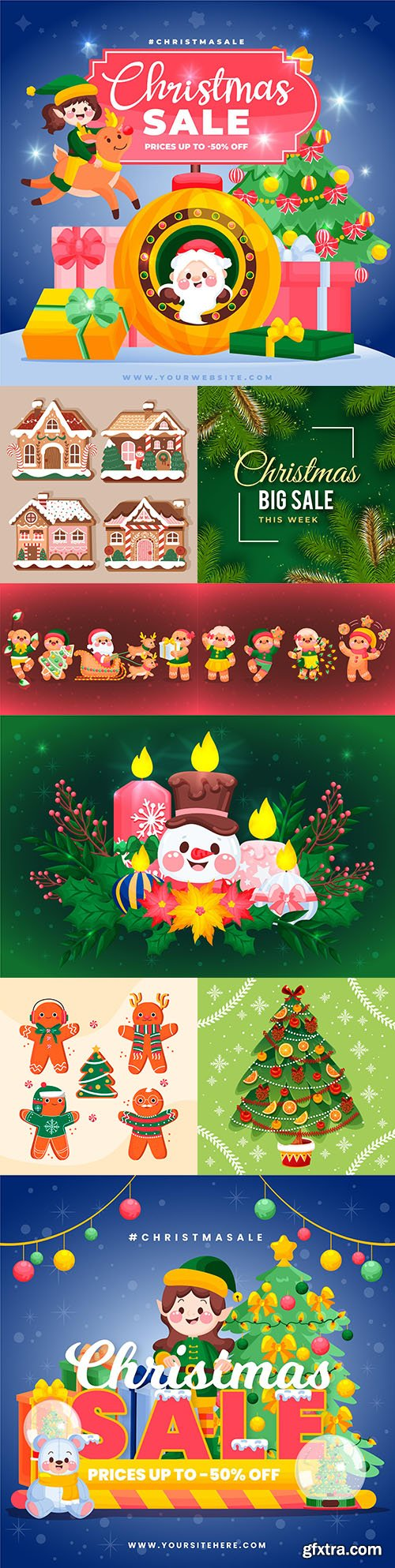 Christmas sales and New Year design elements illustration
