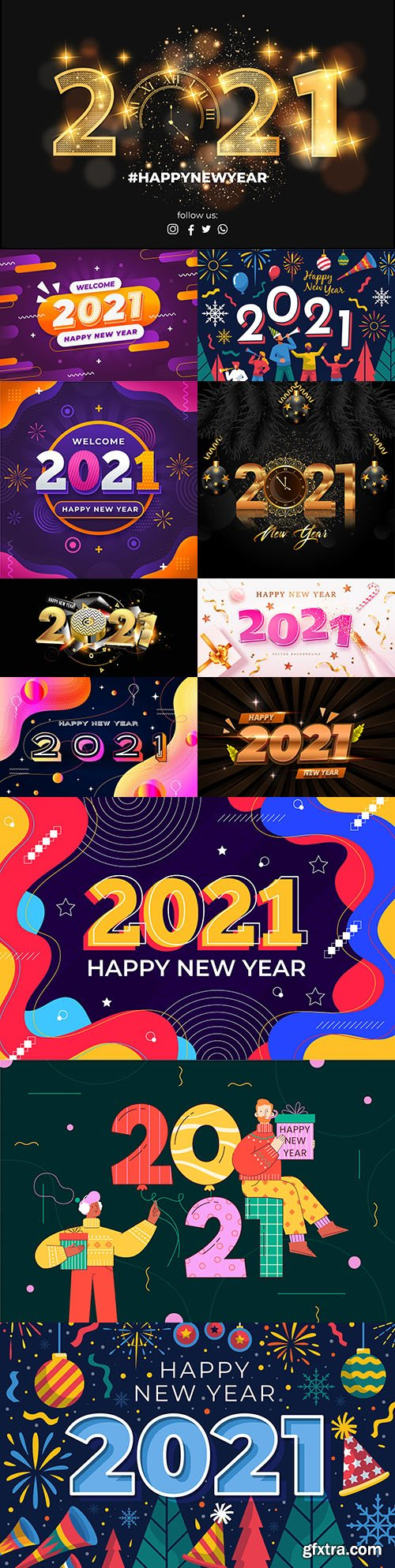 New Year 2021 background in flat design inscription