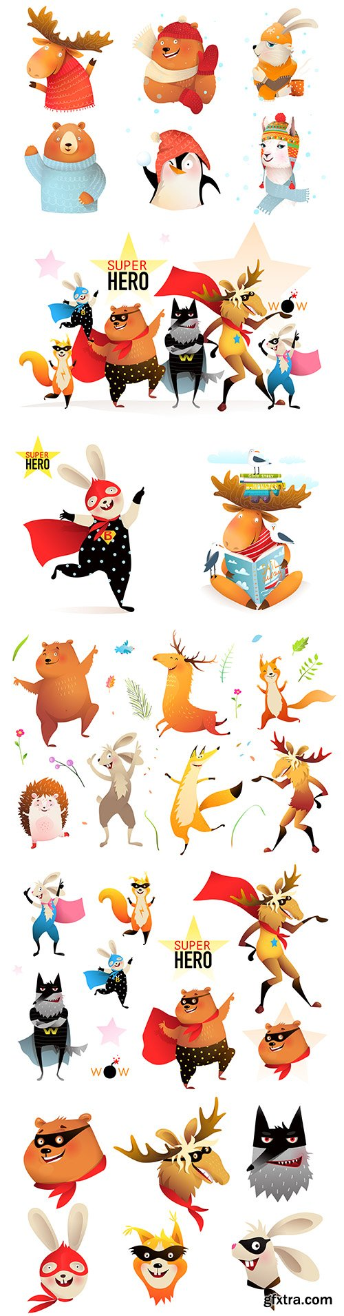 Wild animals and collection painted illustrations superheroes