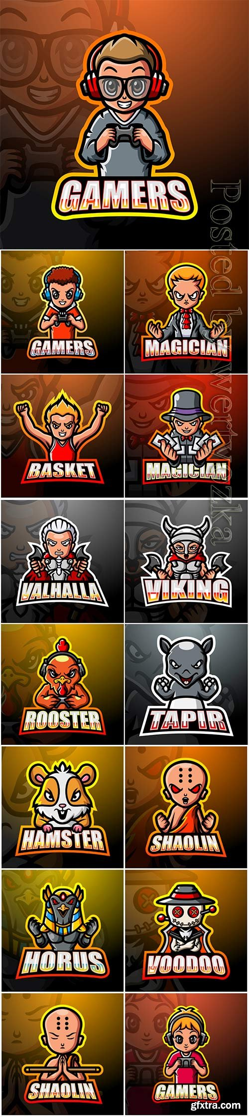 Mascot esport logo design premium vector vol 41