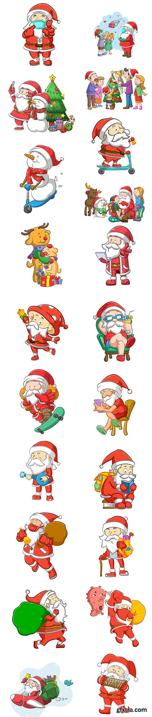 Santa Claus and Snowman illustrations