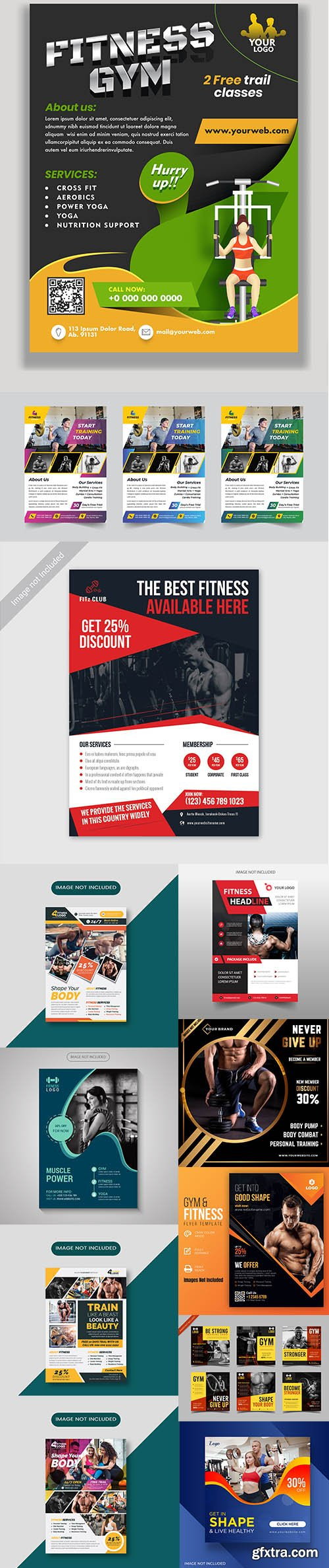 Gym and fitness flyer template collection Vol 5