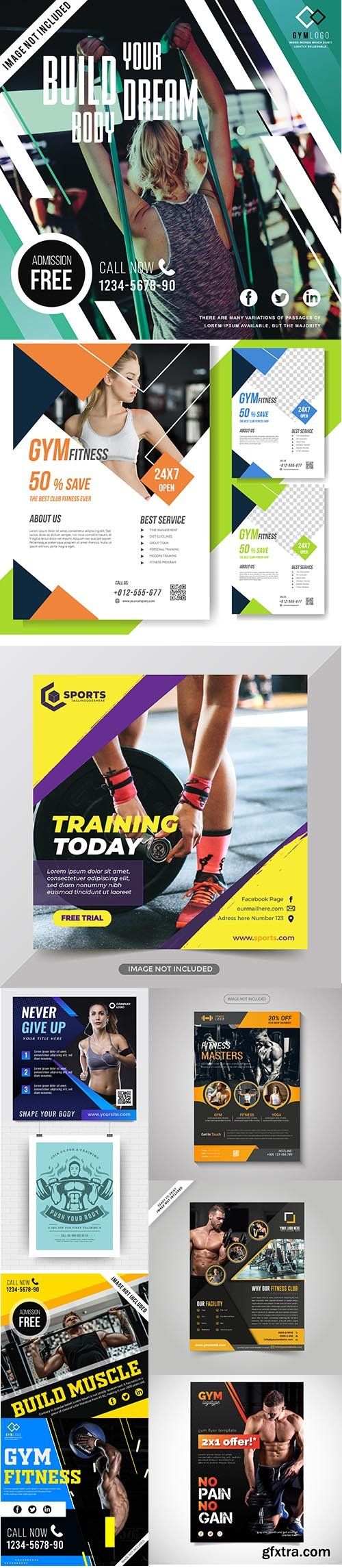 Gym and fitness flyer template collection Vol 6