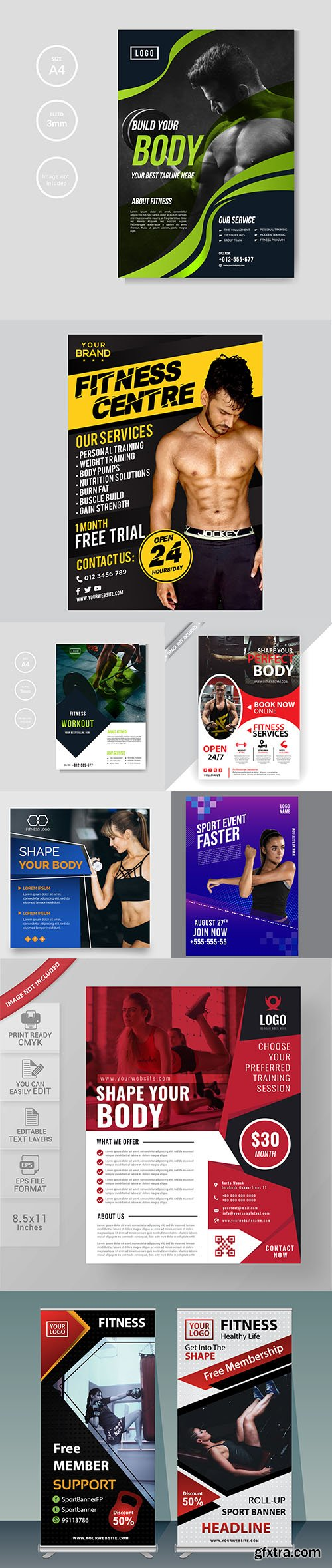 Gym and fitness flyer template collection