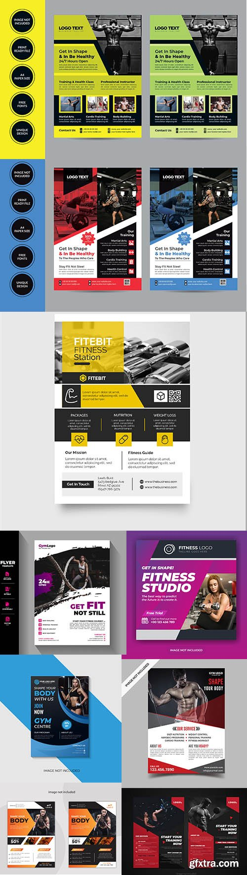 Gym and fitness flyer template collection Vol 3