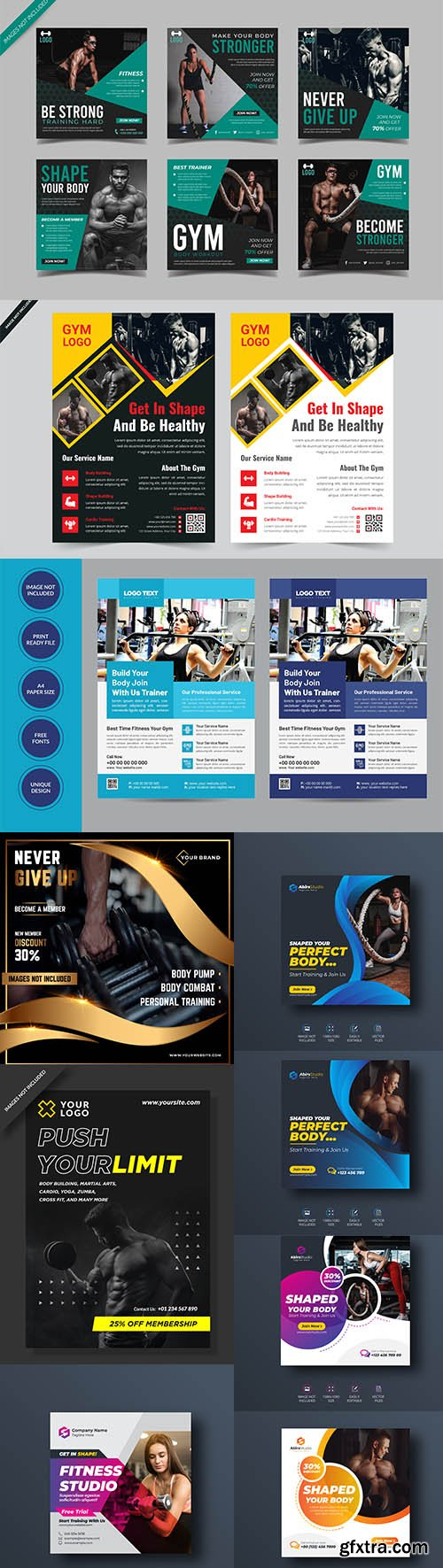 Gym and fitness flyer template collection Vol 4