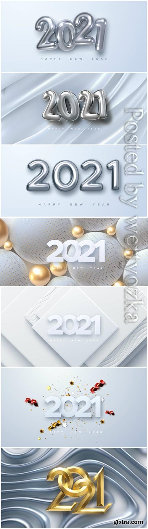 Elegant vector numbers 2021 for new year illustration